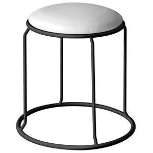 北欧風 スツール/丸椅子 【同色5脚セット ホワイト×ブラック】 幅415mm スチール ビニールレザー 『レザー リンクスツール』