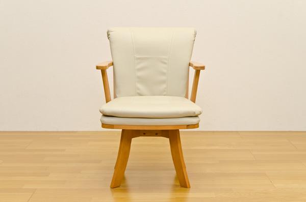 ダイニングチェア(回転椅子/リビングチェア) 木製 張地:合成皮革/合皮 肘付き Coventry ナチュラル