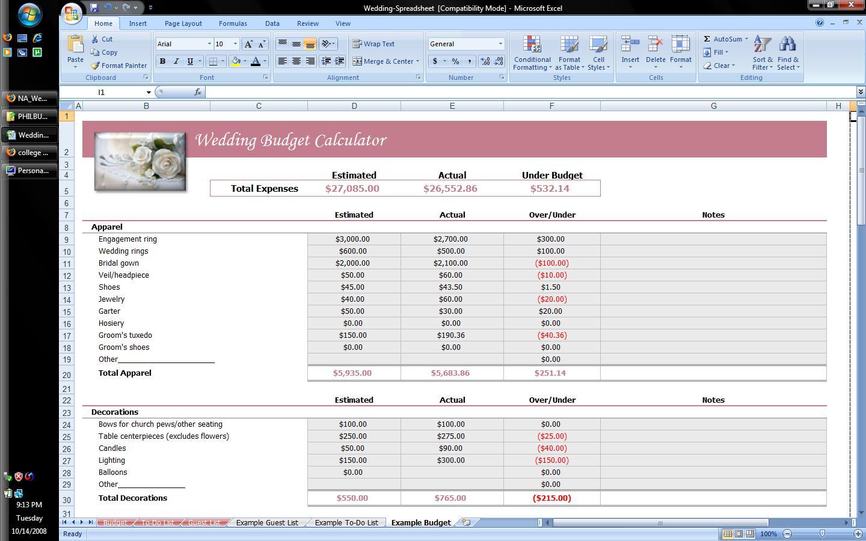 Wedding Planner Excel Spreadsheet