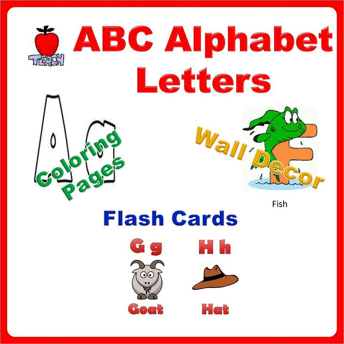Abc Alphabet Letters Flash Card Coloring Book Wall Decor Printable