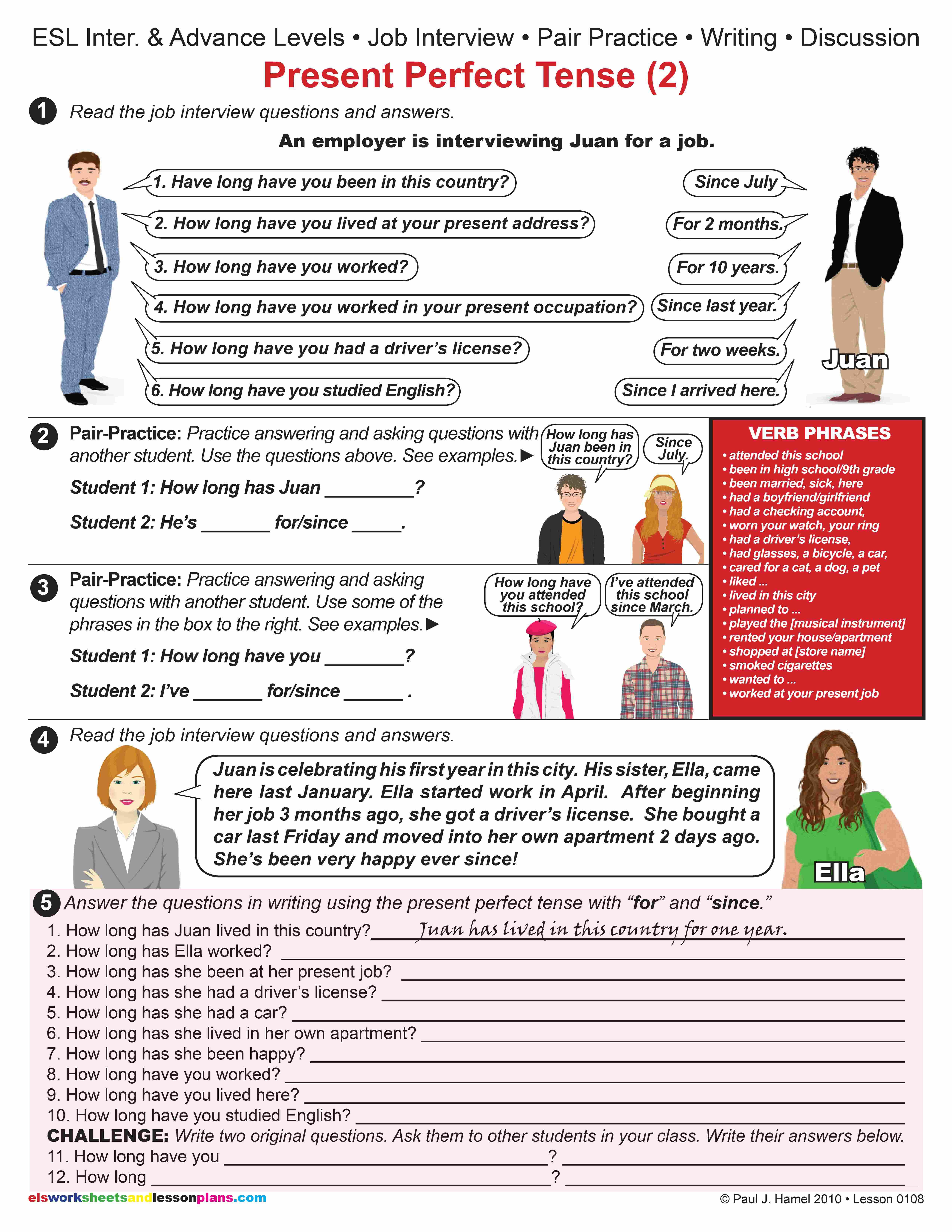 Esl Present Perfect Tense 2 Job Interview Item