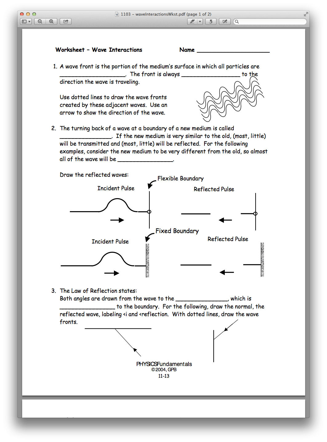 Worksheet Wave Interactions Answers