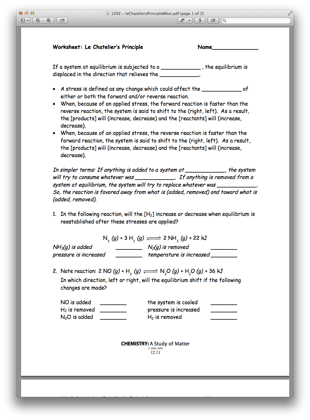 Worksheet Reaction Rates Chemistry A Study Of Matter 12 3 Answers