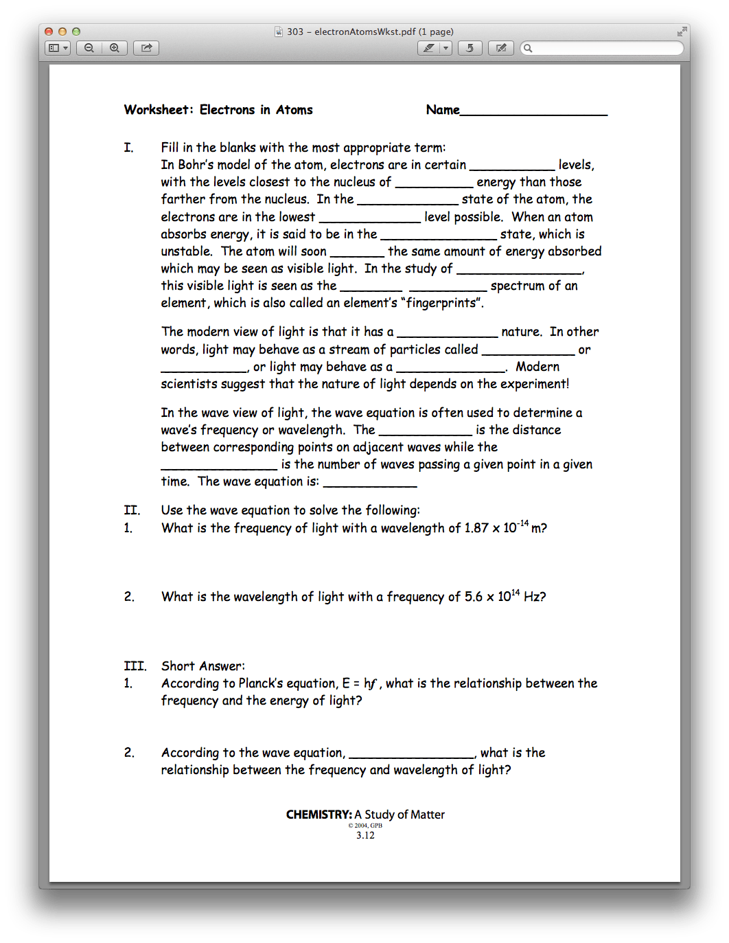 Worksheet Electrons In Atoms