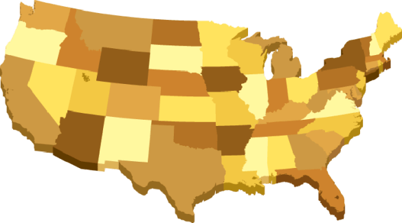 USA 3D Map With States in Different Brown Colors   Clipart   The     USA 3D Map With States in Different Brown Colors   Clipart