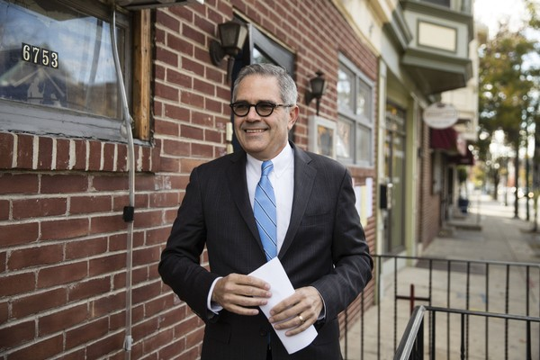 Democratic nominee for Philadelphia district attorney Larry Krasner walks from his polling place after voting in Philadelphia, Tuesday, Nov. 7, 2017. He beat Republican Beth Grossman in Tuesday's race.