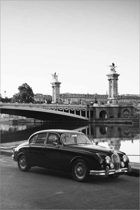 Vintage Car In Paris In Black And White Posters And Prints Posterlounge Com
