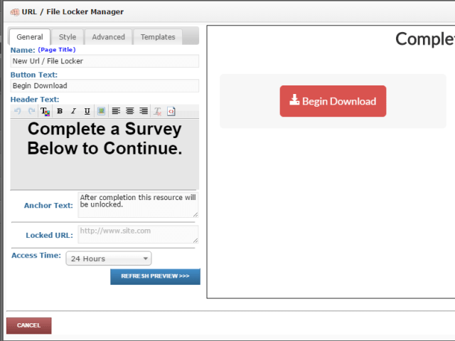 Fill in all the specifics, and put your file URL in the Locked URL box.