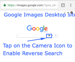 Google Images Desktop Site - Tap on the Camera Icon
