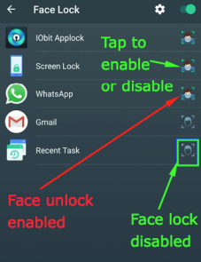 Tap to disable or enable face lock for the app