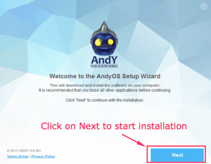 Andy OS for PC Installation on Windows 10