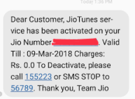 Free Jio Tune Confirmation