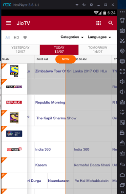 Jio TV for PC Menu