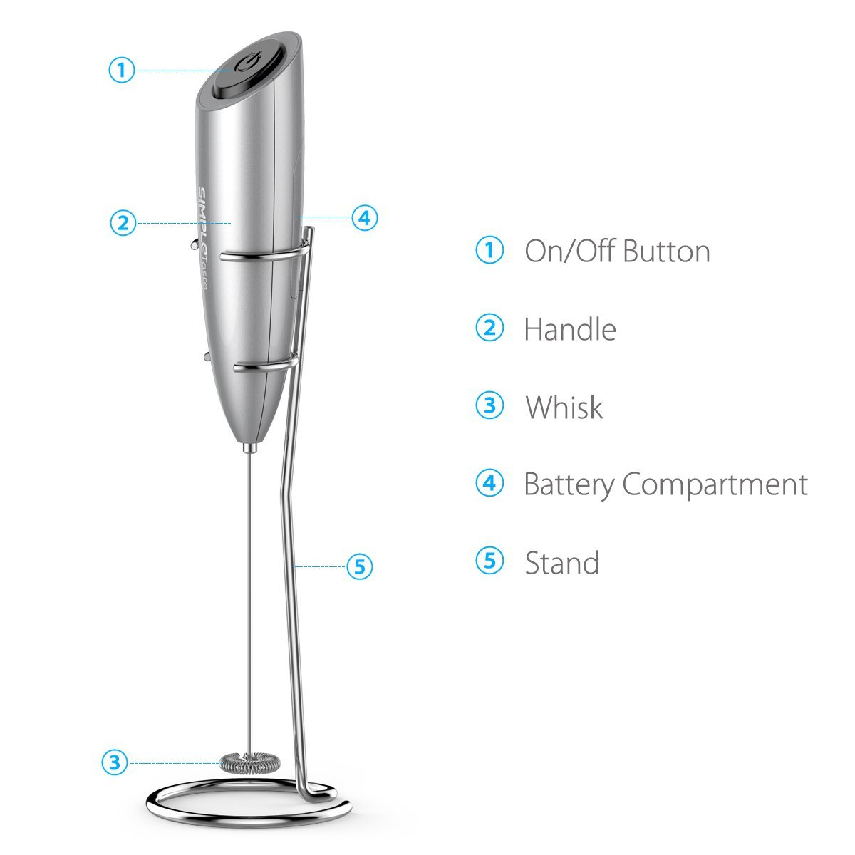 Handheld Battery Powered Electric Milk Frother With Stand