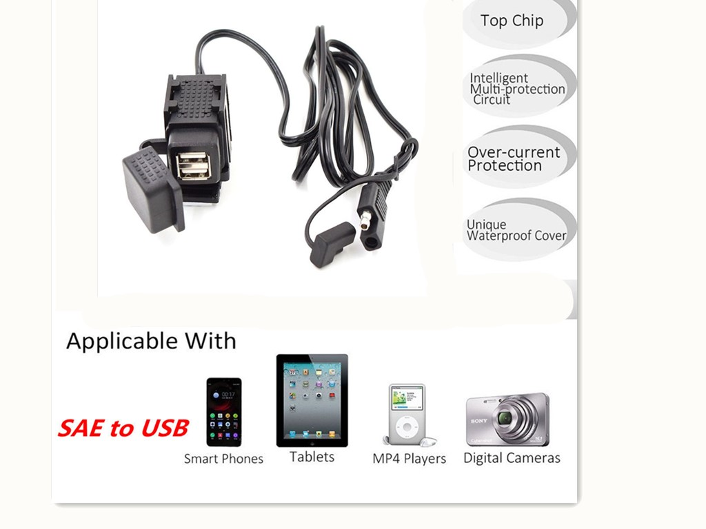 Sae To Usb Adaptor Charger W Wiring Harness Kit Plug For
