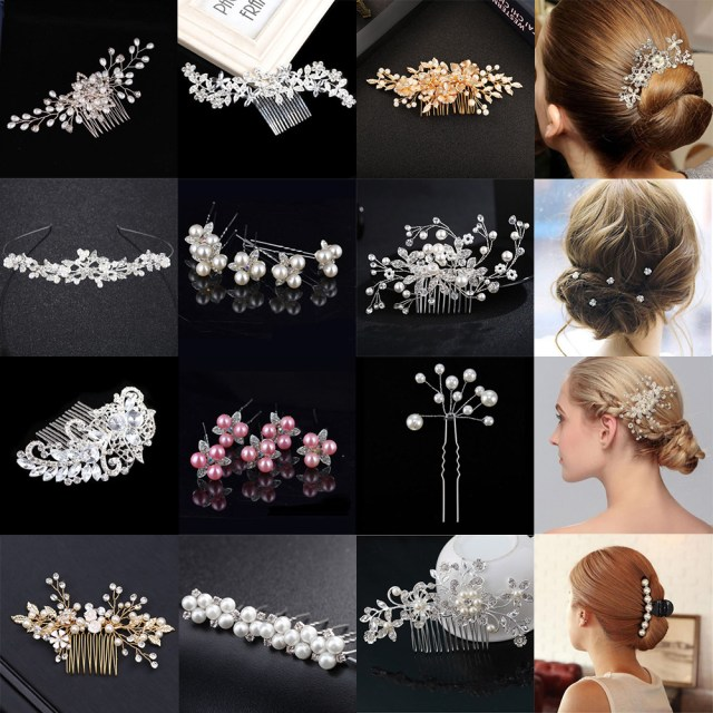 details about flower wedding hair pins comb bridal clips gold silver crystal pearl hair clip