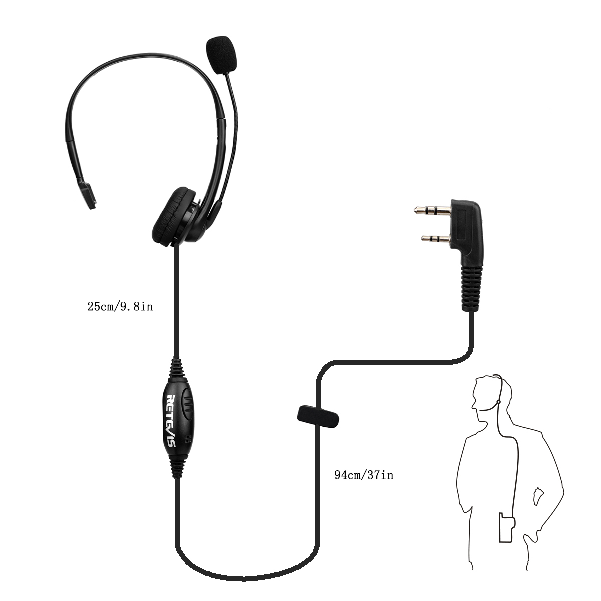 Retevis 2 Pin Ptt Mic Headphone Headset For Kenwood