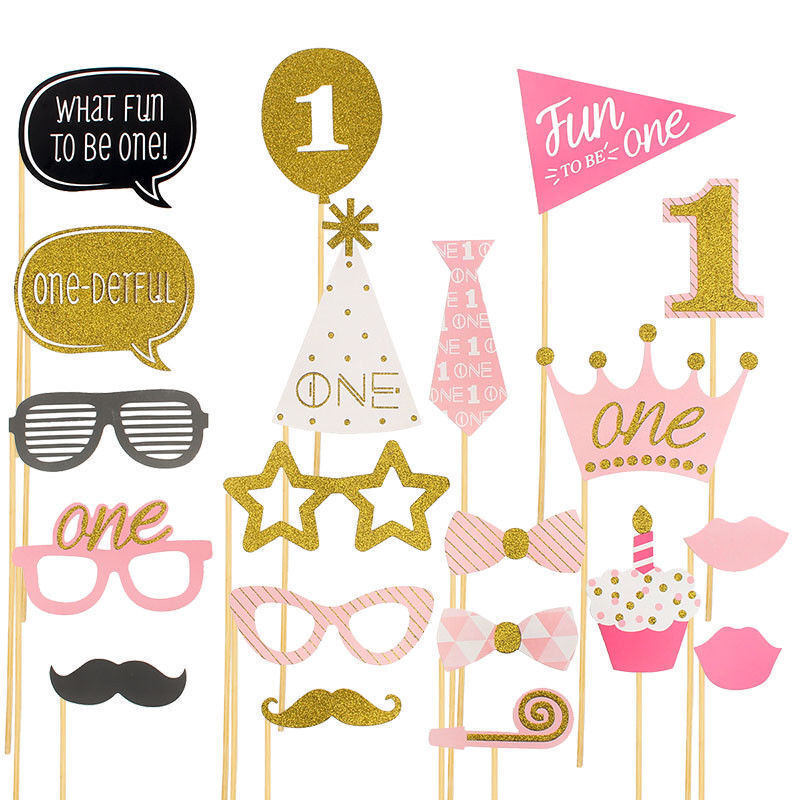 20x Photo Booth Props Baby Shower Pink Girl 1st First Birthday Party Decoration Ebay