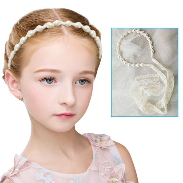 details about flower girls kids pearl lace headband hair band headwear head wedding accessory