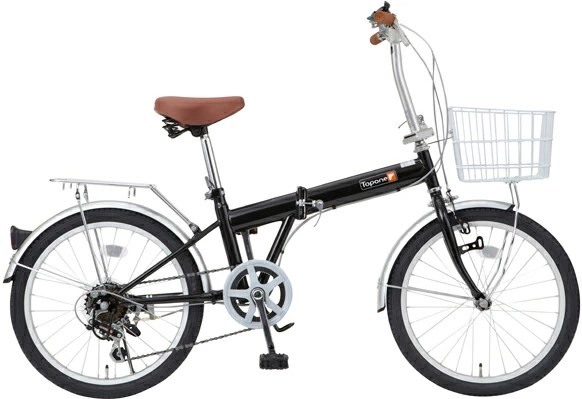 TOPONE(トップワン)20インチ折りたたみ自転車シマノ6段変速ギア搭載 カゴ標準装備 KGK206-09-BK ブラック