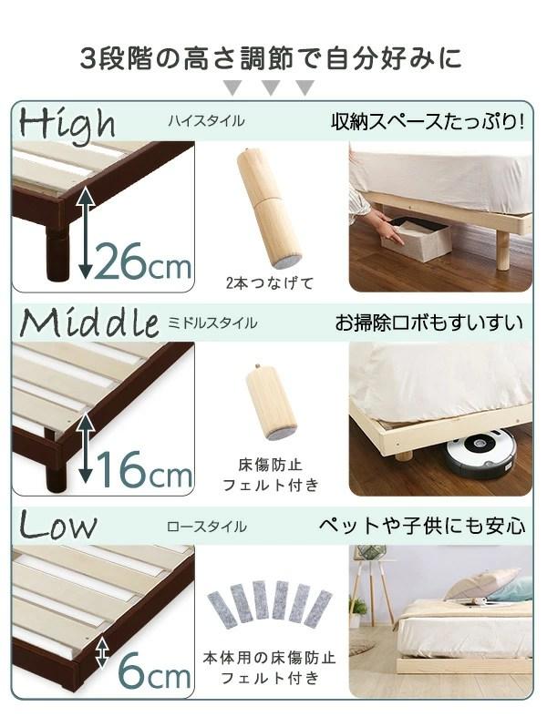 高さ3段階調節すのこベッド【リリッタ】ポケットコイルマットレス付