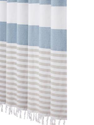 stripe tassel shower curtain