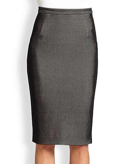 Bonded Fishnet Pencil Skirt