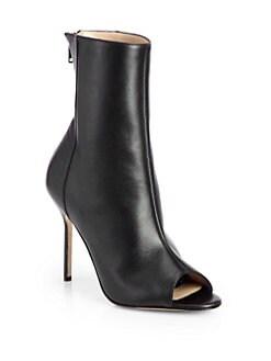 Manolo Blahnik - Bellantomod Leather Open-Toe Ankle Boots