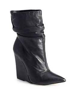 Alice + Olivia - Odessa Tumbled Leather Wedge Boots