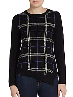 Plaid Front Cashmere Sweater