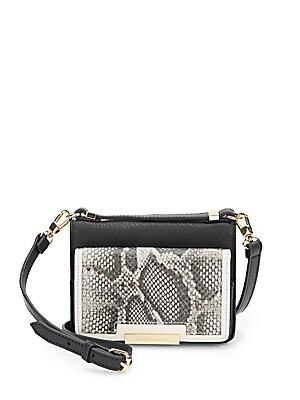 Snake-Embossed Leather Crossbody Bag