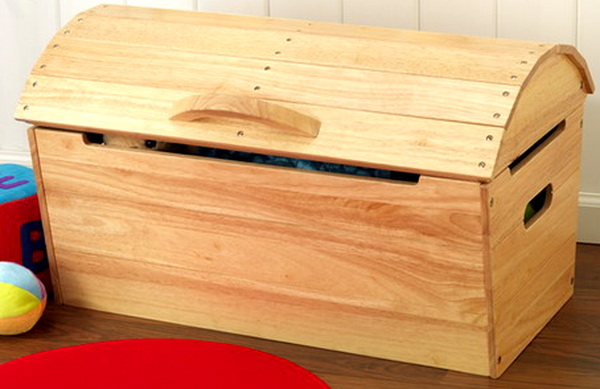 Details about New Wooden Toy Chest Storage Box Natural Wood Finish