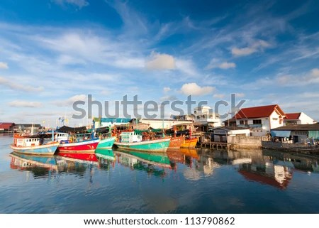 City the river, Rayong, Thailand - stock photo