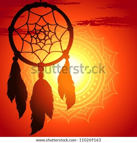stock vector : dream catcher, silhouette of a feather on a background sunset