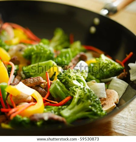 wok stir fry with selective focus - stock photo
