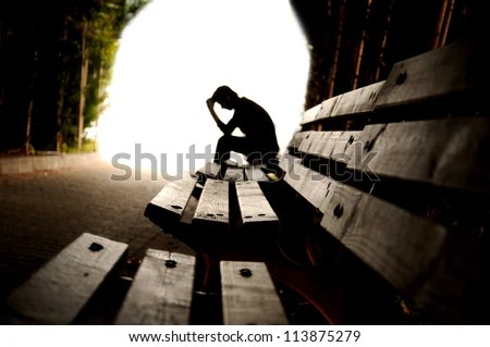 depression, teen depression, pain, suffering, tunnel - stock photo