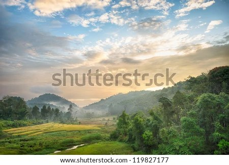 morning at urban village, Mae Hong Son, Thailand - stock photo