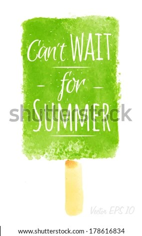 beautiful wall art print featuring watercolor ice cream poster lettering can t wait for summer drawing with green paint