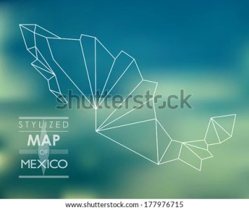 Mexico Map Vector   Download Free Vector Art  Stock Graphics   Images Stylized map of Mexico  map concept
