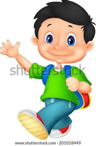 Happy school boy cartoon - stock vector