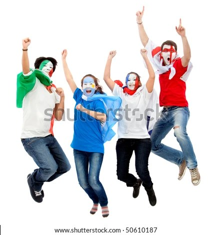 stock photo : Group of football fans with their faces painted jumping - isolated over white