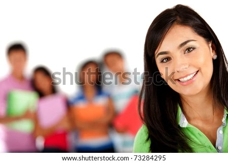 stock photo : Girl smiling with a group behind her � isolated over white