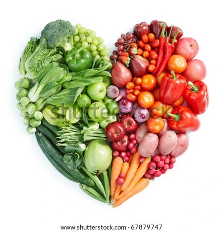 heart shape by various vegetables and fruits - stock photo