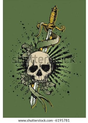 stock vector : skull vintage tattoo