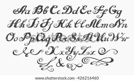 Royalty Free Calligraphy Alphabet Typeset Lettering