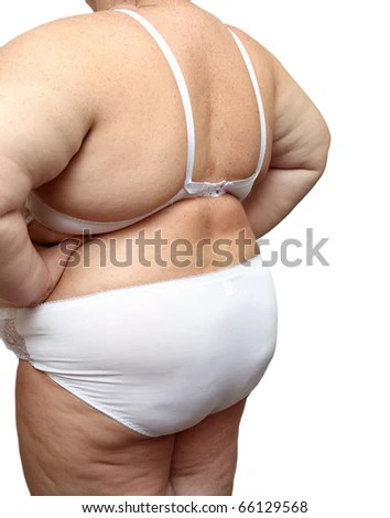 stock photo : overweight woman body in underwear isolated on white