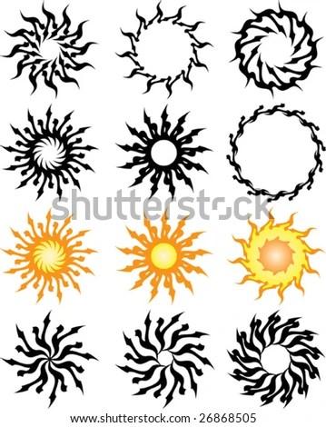 stock vector : Vector Tribal tattoo set Cross, Sun, Flame Designs