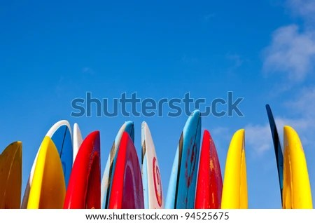 microstock stock image of surfboard and blue summer sky