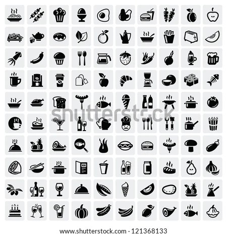 vector black food icons set on gray - stock vector