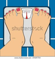 stock vector : VECTOR - A Women Standing on Bathroom Scale - Scale Indicator Shows 100 KG - Her Toe Nails ar Painted By Manicure - Useful For Diet Use, Overwieght, Fitness & GYM - Low Section of Human